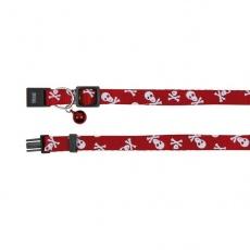 Mačja ovratnica z motivom lobanje, rdeča - 15 - 20 cm