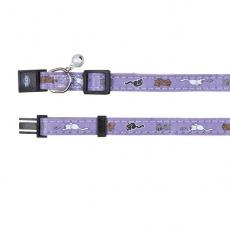 Mačja ovratnica z motivom, vijolična - 18 - 30 cm