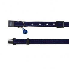 Mačja ovratnica iz semiša, modra - 18-30 cm