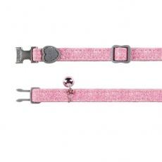 Mačja ovratnica z roza bleščicami, 18 - 30 cm