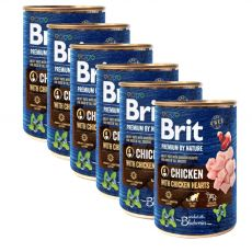 Konzervirana hrana Brit premium by Nature Chicken & Hearts 6 x 400 g