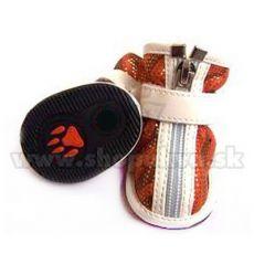 Pasji čevlji iz semiša z bleščicami – oranžni (4 kosi) – velikost 3