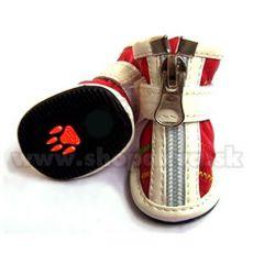 Čevlji za pse z zapiranjem na zadrgo, rdeči (4 kosi) – velikost 3