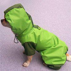 Pasji dežni plašč s kapuco in luknjami za 4 tačke - olivno-zelen, XS