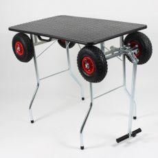 Zložljiva miza za striženje psa s kolesi 100 x 60 cm