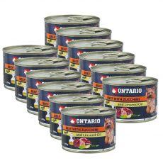 Konzerva pasje hrane ONTARIO z govedino, bučkami in lanenim oljem – 12 x 200 g