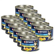Konzerva pasje hrane ONTARIO z ribami in lososovim oljem – 12 x 200 g