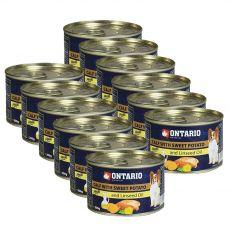 Konzerva pasje hrane ONTARIO z jagnjetino, sladkim krompirjem in lanenim oljem – 12 x 200 g