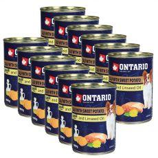Konzerva pasje hrane ONTARIO z jagnjetino, sladkim krompirjem in lanenim oljem – 12 x 400 g