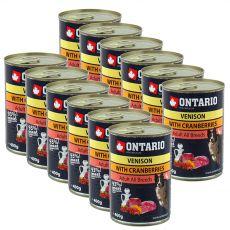 Konzerva ONTARIO z divjačino, brusnicami in oljem za pse - 12 x 400 g