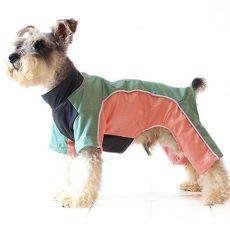 Enodelna obleka za psa – zelena in marelična, XS