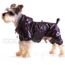 Dežni plašč za pse RibStop, dvoplasten - viola-rjav, XS