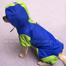 Dežni plašč za pse - s kapuco, modro-zelen, S