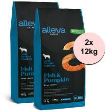 Alleva NATURAL dog fish & pumpkin adult medium/maxi 2 x 12 kg