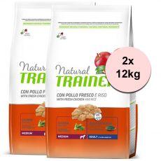 Trainer Natural Adult Medium, piščanec in riž, 2 x 12 kg