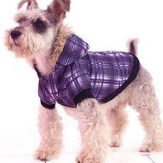 Karirasta jakna za psa – vijolična, XL