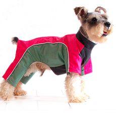Enodelna obleka za psa – roza in zelena, S