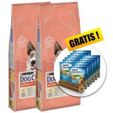 PURINA DOG CHOW Active – 2 x 14 kg + DARILO
