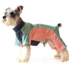 Enodelna obleka za psa – zelena in marelična, S