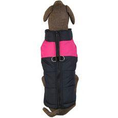 Plašč za velike pse - črno-roza, L-XS
