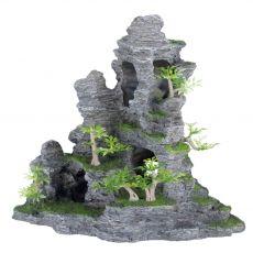 Okras za akvarije - z rastlinami poraščena skala