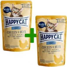 Vrečka Happy Cat ALL MEAT Adult Chicken & Duck 85 g 1+1 BREZPLAČNO