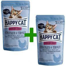 Vrečka Happy Cat ALL MEAT Adult Sterilised Chicken & Trout 85 g 1+1 BREZPLAČNO