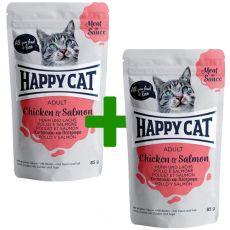 Vrečka Happy Cat MEAT IN SAUCE Adult Chicken & Salmon 85 g 1+1 BREZPLAČNO