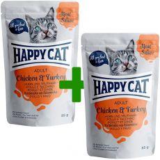 Vrečka Happy Cat MEAT IN SAUCE Adult Chicken & Turkey 85 g 1+1 BREZPLAČNO