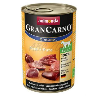 Konzerva pasje hrane GranCarno Fleisch Adult Beef + Turkey - 400 g