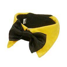 Metuljček za pse - črn z rumenim ovratnikom, L