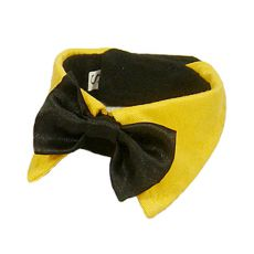 Metuljček za pse - črn z rumenim ovratnikom, S