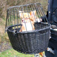 Prenosna pasja košara z rešetko za kolo 50 x 41 x 35 cm