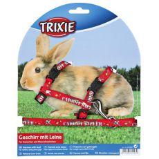 Oprsnica in povodec za zajce - rdeča