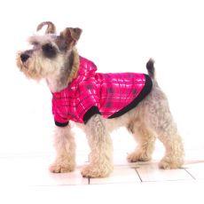 Karirasta jakna za psa – roza, L