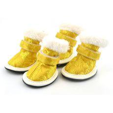 Pasji čevlji – zlati, vezeni vzorec – velikost 3