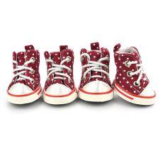 Pikčasti pasji čevlji, bordo - velikost 4