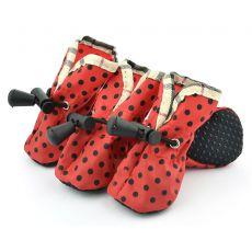Rdeči pasji čevlji, črne pike - velikost 4