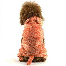 Pasja obleka – oranžna, leopard z repom, L