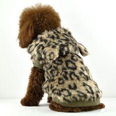 Pasji plašč iz pliša – leopardji vzorec, kapuca, XS