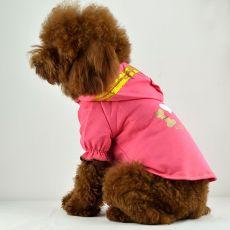 Pasja majica - roza s kapuco in napisom, XL