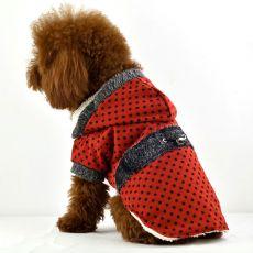 Pasji plašč – rdeč s pikami, umetno krzno, XL
