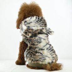 Pasji plašč iz umetnega krzna – tigrasti vzorec, kapuca, XL
