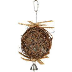 Žoga za ptice - pletena, z zvončkom, 10 cm