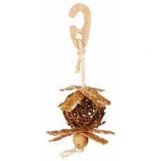 Pletena žoga za ptice z vrvjo iz sisala 5,5 cm