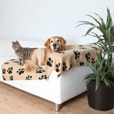 Odeja za pse in mačke, bež s tačkami, 150 x 100 cm