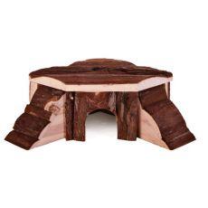 Lesena hiša za glodalce – kotna, 21 x 7 x 19 cm