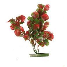 Rastlina za akvarij  - plastična, 17 cm rdeča-zeleno listje