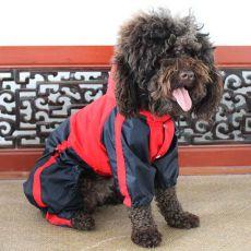 Pasja obleka – vodoodporna, rdeča in črna, XS