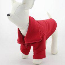 Pasji pulover z zadrgo – rdeč, L